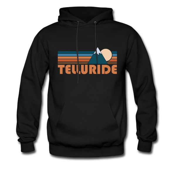 Telluride, Colorado Hoodie - Retro Mountain Telluride Crewneck Hooded Sweatshirt - black
