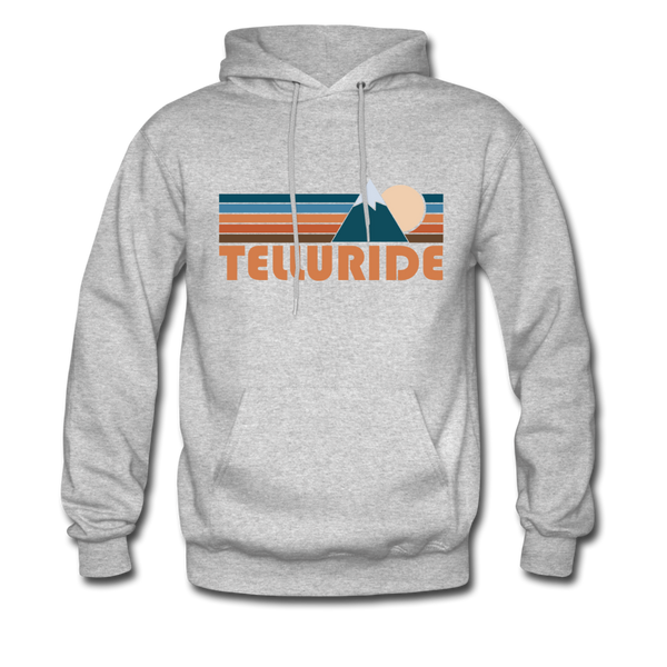 Telluride, Colorado Hoodie - Retro Mountain Telluride Crewneck Hooded Sweatshirt - heather gray