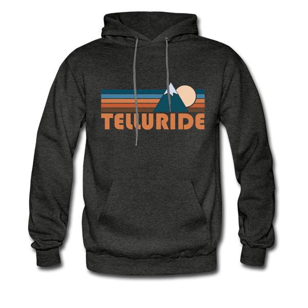 Telluride, Colorado Hoodie - Retro Mountain Telluride Crewneck Hooded Sweatshirt - charcoal gray