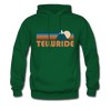 Telluride, Colorado Hoodie - Retro Mountain Telluride Crewneck Hooded Sweatshirt - forest green