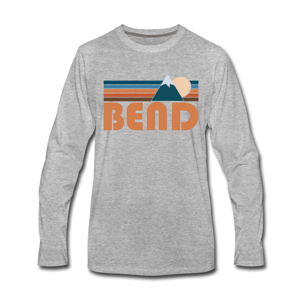 Bend, Oregon Long Sleeve T-Shirt - Retro Mountain Unisex Bend Long Sleeve Shirt - heather gray