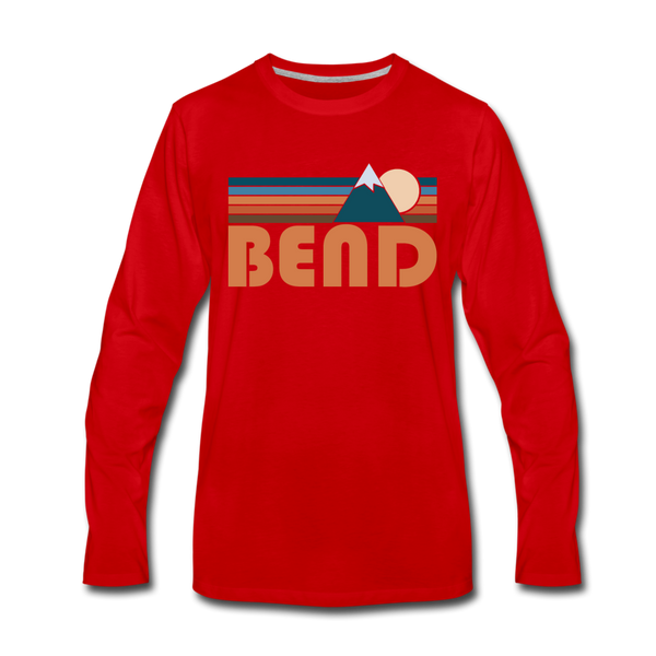 Bend, Oregon Long Sleeve T-Shirt - Retro Mountain Unisex Bend Long Sleeve Shirt - red