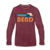 Bend, Oregon Long Sleeve T-Shirt - Retro Mountain Unisex Bend Long Sleeve Shirt - heather burgundy