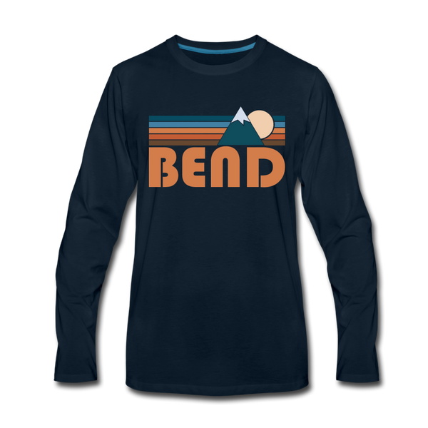 Bend, Oregon Long Sleeve T-Shirt - Retro Mountain Unisex Bend Long Sleeve Shirt - deep navy