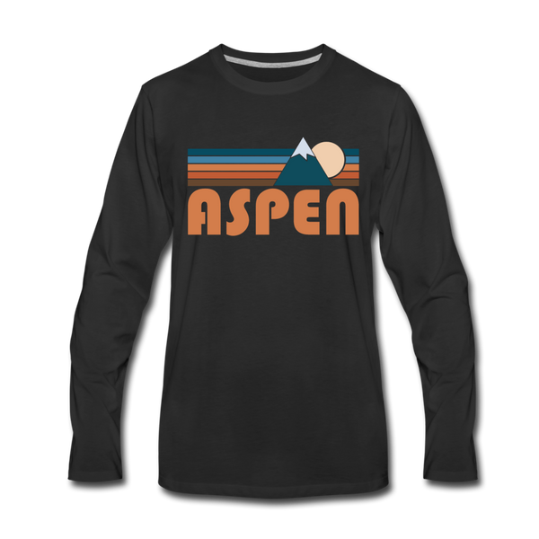 Aspen, Colorado Long Sleeve T-Shirt - Retro Mountain Unisex Aspen Long Sleeve Shirt - black