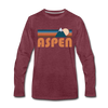 Aspen, Colorado Long Sleeve T-Shirt - Retro Mountain Unisex Aspen Long Sleeve Shirt - heather burgundy