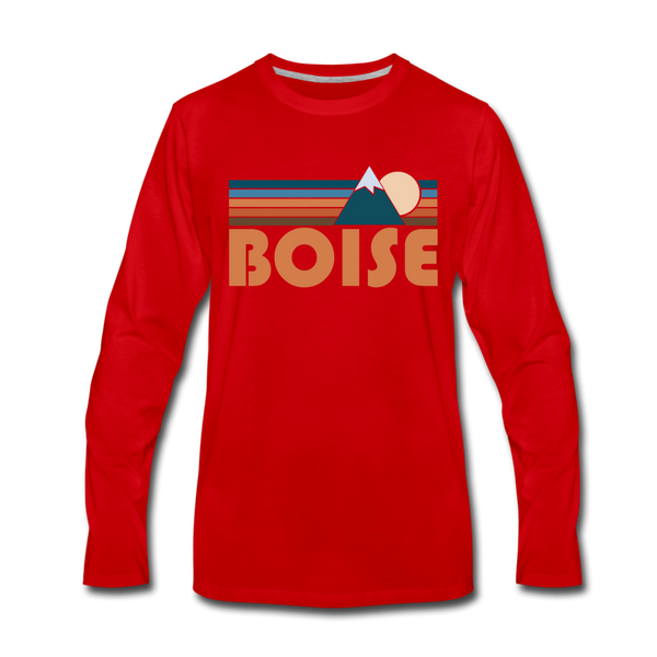 Boise, Idaho Long Sleeve T-Shirt - Retro Mountain Unisex Boise Long Sleeve Shirt - red