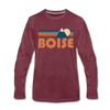 Boise, Idaho Long Sleeve T-Shirt - Retro Mountain Unisex Boise Long Sleeve Shirt - heather burgundy