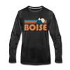 Boise, Idaho Long Sleeve T-Shirt - Retro Mountain Unisex Boise Long Sleeve Shirt - charcoal gray