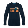 Boise, Idaho Long Sleeve T-Shirt - Retro Mountain Unisex Boise Long Sleeve Shirt - deep navy