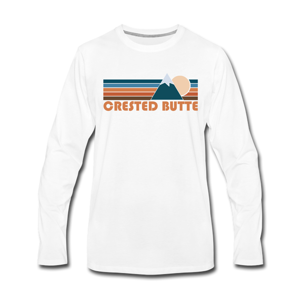 Crested Butte, Colorado Long Sleeve T-Shirt - Retro Mountain Unisex Crested Butte Long Sleeve Shirt - white