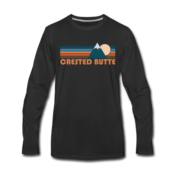 Crested Butte, Colorado Long Sleeve T-Shirt - Retro Mountain Unisex Crested Butte Long Sleeve Shirt - black