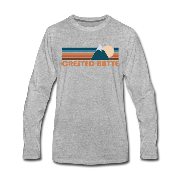 Crested Butte, Colorado Long Sleeve T-Shirt - Retro Mountain Unisex Crested Butte Long Sleeve Shirt - heather gray