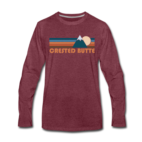 Crested Butte, Colorado Long Sleeve T-Shirt - Retro Mountain Unisex Crested Butte Long Sleeve Shirt - heather burgundy
