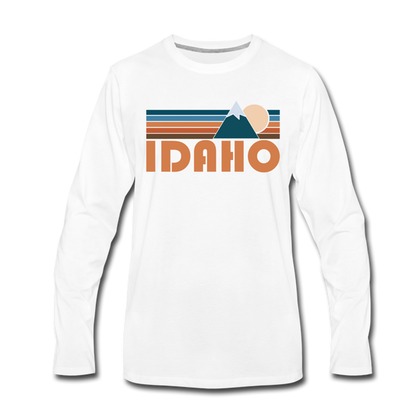 Idaho Long Sleeve T-Shirt - Retro Mountain Unisex Idaho Long Sleeve Shirt - white