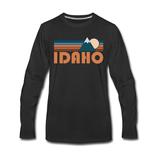 Idaho Long Sleeve T-Shirt - Retro Mountain Unisex Idaho Long Sleeve Shirt - black