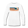Vermont Long Sleeve T-Shirt - Retro Mountain Unisex Vermont Long Sleeve Shirt - white