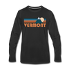 Vermont Long Sleeve T-Shirt - Retro Mountain Unisex Vermont Long Sleeve Shirt - black