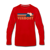 Vermont Long Sleeve T-Shirt - Retro Mountain Unisex Vermont Long Sleeve Shirt - red