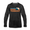 Vermont Long Sleeve T-Shirt - Retro Mountain Unisex Vermont Long Sleeve Shirt - charcoal gray