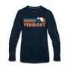 Vermont Long Sleeve T-Shirt - Retro Mountain Unisex Vermont Long Sleeve Shirt - deep navy