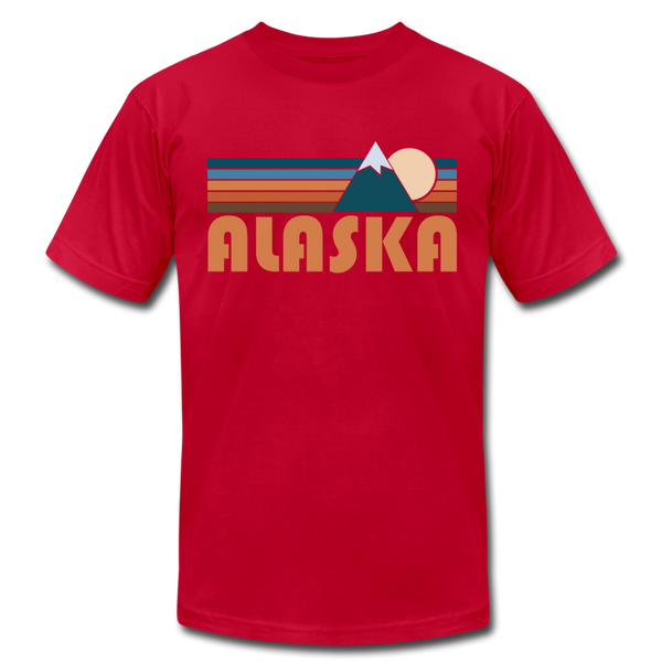 Alaska T-Shirt - Retro Mountain Unisex Alaska T Shirt - red