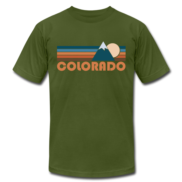 Colorado T-Shirt - Retro Mountain Unisex Colorado T Shirt - olive