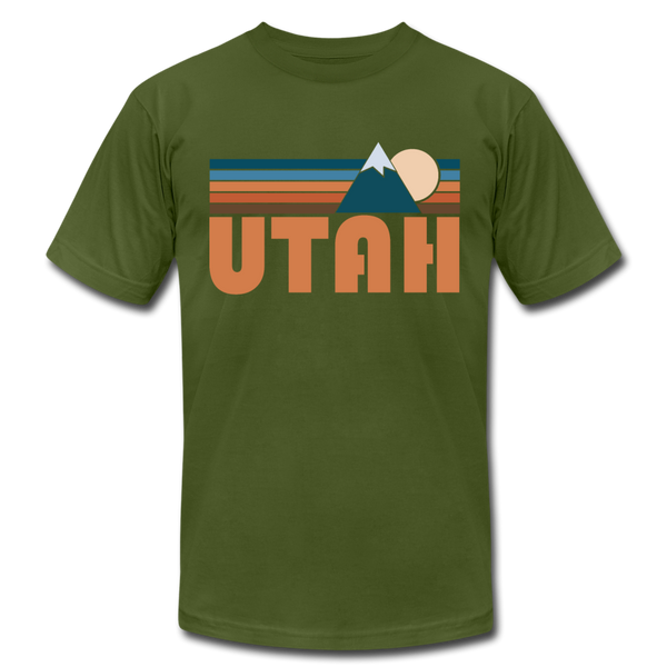 Utah T-Shirt - Retro Mountain Unisex Utah T Shirt - olive