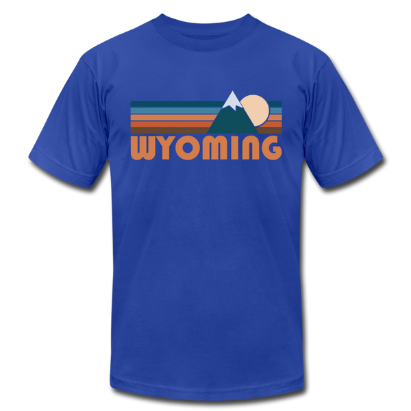 Wyoming T-Shirt - Retro Mountain Unisex Wyoming T Shirt - royal blue