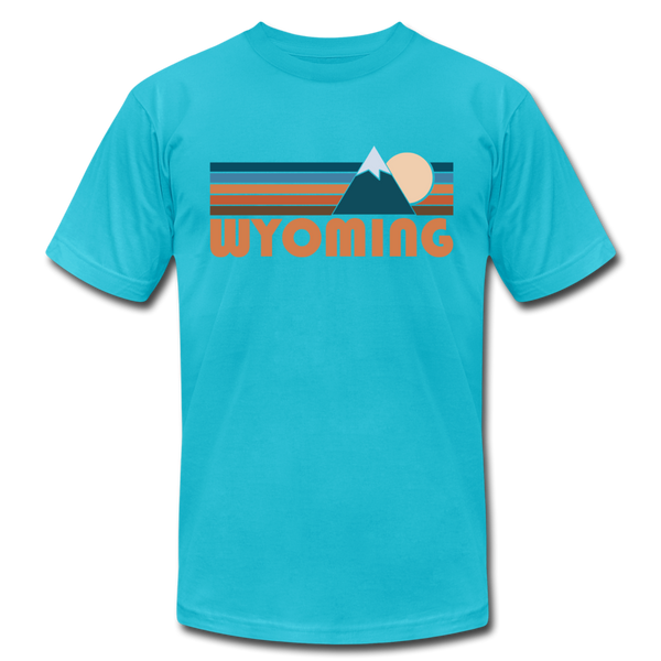 Wyoming T-Shirt - Retro Mountain Unisex Wyoming T Shirt - turquoise