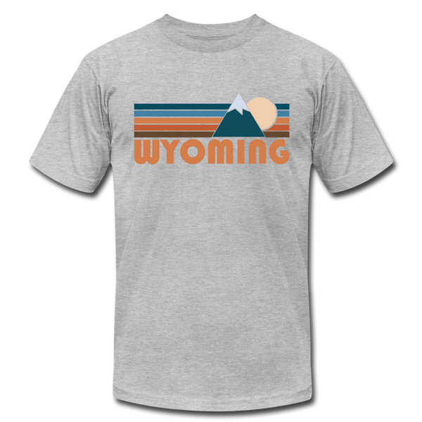 Wyoming T-Shirt - Retro Mountain Unisex Wyoming T Shirt - heather gray