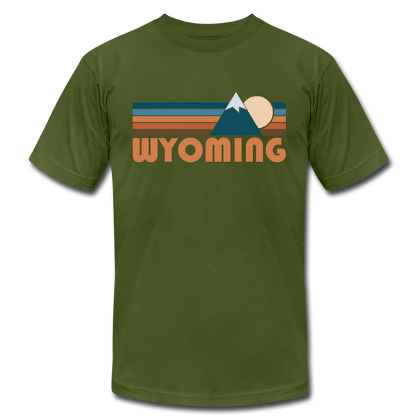 Wyoming T-Shirt - Retro Mountain Unisex Wyoming T Shirt - olive
