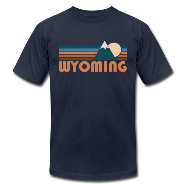 Wyoming T-Shirt - Retro Mountain Unisex Wyoming T Shirt - navy