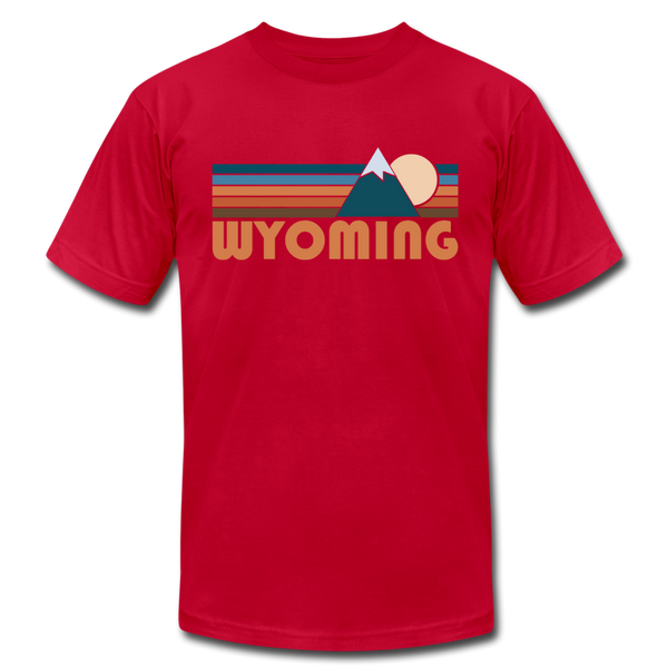 Wyoming T-Shirt - Retro Mountain Unisex Wyoming T Shirt - red