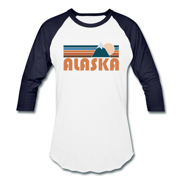 Alaska Baseball T-Shirt - Retro Mountain Unisex Alaska Raglan T Shirt - white/navy