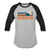 Alaska Baseball T-Shirt - Retro Mountain Unisex Alaska Raglan T Shirt - heather gray/black