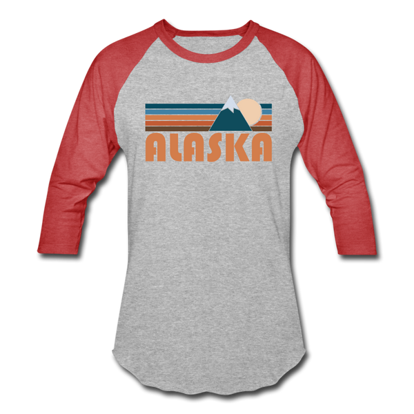 Alaska Baseball T-Shirt - Retro Mountain Unisex Alaska Raglan T Shirt - heather gray/red