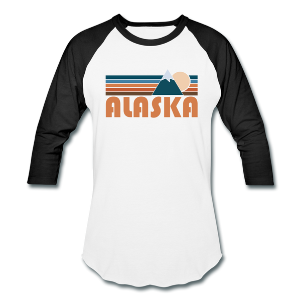 Alaska Baseball T-Shirt - Retro Mountain Unisex Alaska Raglan T Shirt - white/black