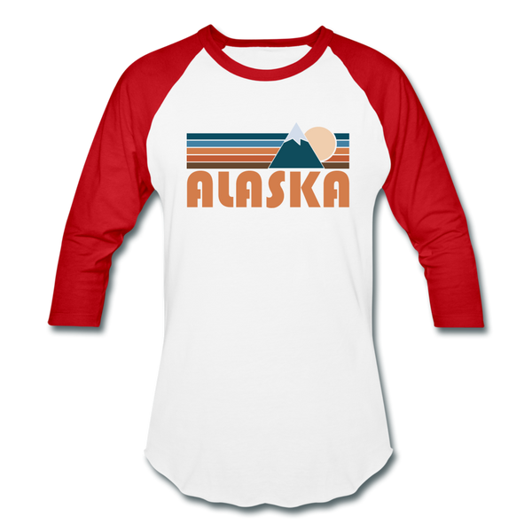 Alaska Baseball T-Shirt - Retro Mountain Unisex Alaska Raglan T Shirt - white/red