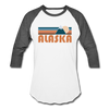 Alaska Baseball T-Shirt - Retro Mountain Unisex Alaska Raglan T Shirt - white/charcoal