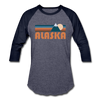 Alaska Baseball T-Shirt - Retro Mountain Unisex Alaska Raglan T Shirt - heather blue/navy