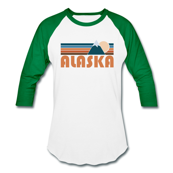 Alaska Baseball T-Shirt - Retro Mountain Unisex Alaska Raglan T Shirt - white/kelly green