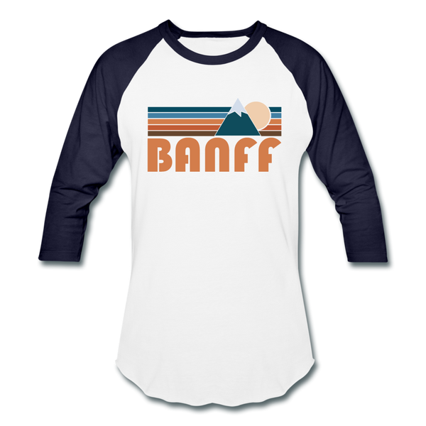 Banff, Canada Baseball T-Shirt - Retro Mountain Unisex Banff Raglan T Shirt - white/navy