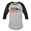 Banff, Canada Baseball T-Shirt - Retro Mountain Unisex Banff Raglan T Shirt - heather gray/black