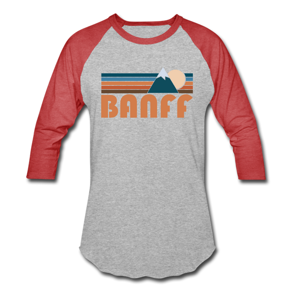 Banff, Canada Baseball T-Shirt - Retro Mountain Unisex Banff Raglan T Shirt - heather gray/red