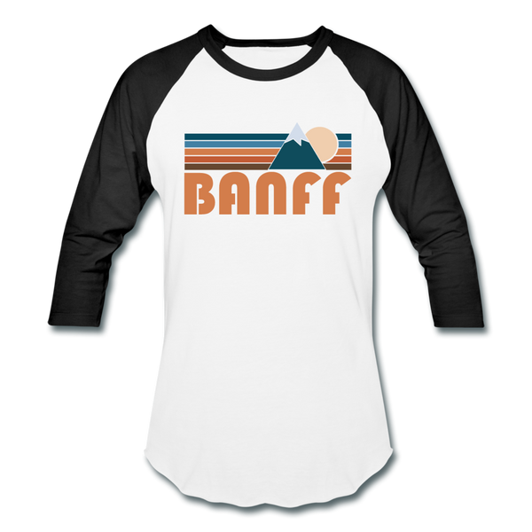 Banff, Canada Baseball T-Shirt - Retro Mountain Unisex Banff Raglan T Shirt - white/black