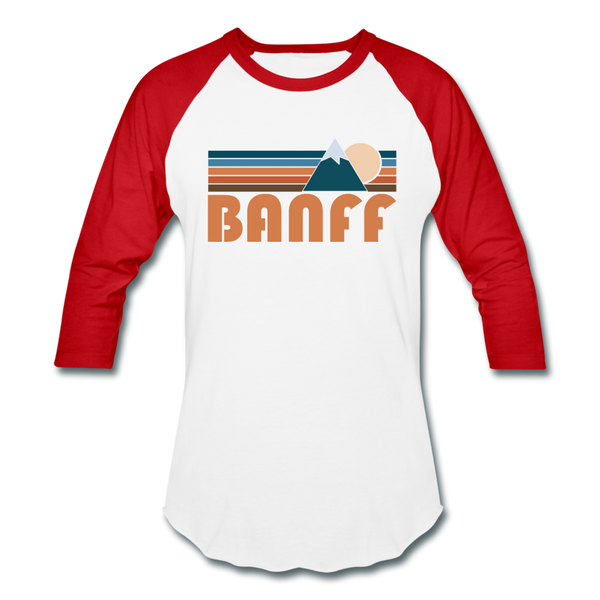Banff, Canada Baseball T-Shirt - Retro Mountain Unisex Banff Raglan T Shirt - white/red