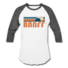 Banff, Canada Baseball T-Shirt - Retro Mountain Unisex Banff Raglan T Shirt - white/charcoal