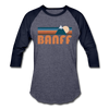 Banff, Canada Baseball T-Shirt - Retro Mountain Unisex Banff Raglan T Shirt - heather blue/navy