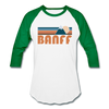 Banff, Canada Baseball T-Shirt - Retro Mountain Unisex Banff Raglan T Shirt - white/kelly green
